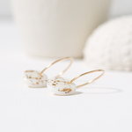 One & Eight Porcelain Disc Earrings - Gold Guilded on Gold Hoops