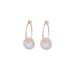 One & Eight Porcelain Disc Earrings - Gold Dots on Gold Hoops