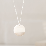 """One & Eight Porcelain Disc Necklace - Silver Dipped on Silver 16-18"""" Chain"""