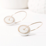 One & Eight Porcelain Disc Earrings - Gold Circles on Gold Hoops