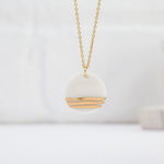 """One & Eight Porcelain Disc Necklace - Gold Triple Line on Gold 16-18"""" Chain"""