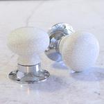 Pushka White Crackled Ceramic Mortice Door Knobs