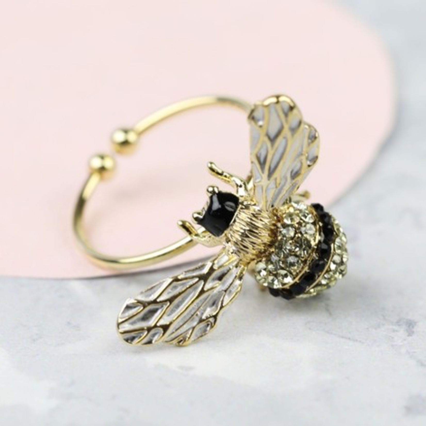 Lisa Angel Bumblebee and Crystal Adjustable Ring in Gold
