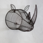 Nkuku Eko Wire Rhinoceros Head - Rust - 30 x 27 x 42cm