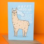 Katie Abey w/llama Wedding llama card