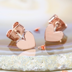 Lisa Angel Shiny Heart Earrings In Rose Gold Stud Earrings