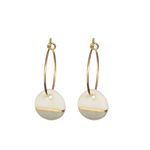 One & Eight Porcelain Disc Earrings - Grey dipped on Gold Hoops