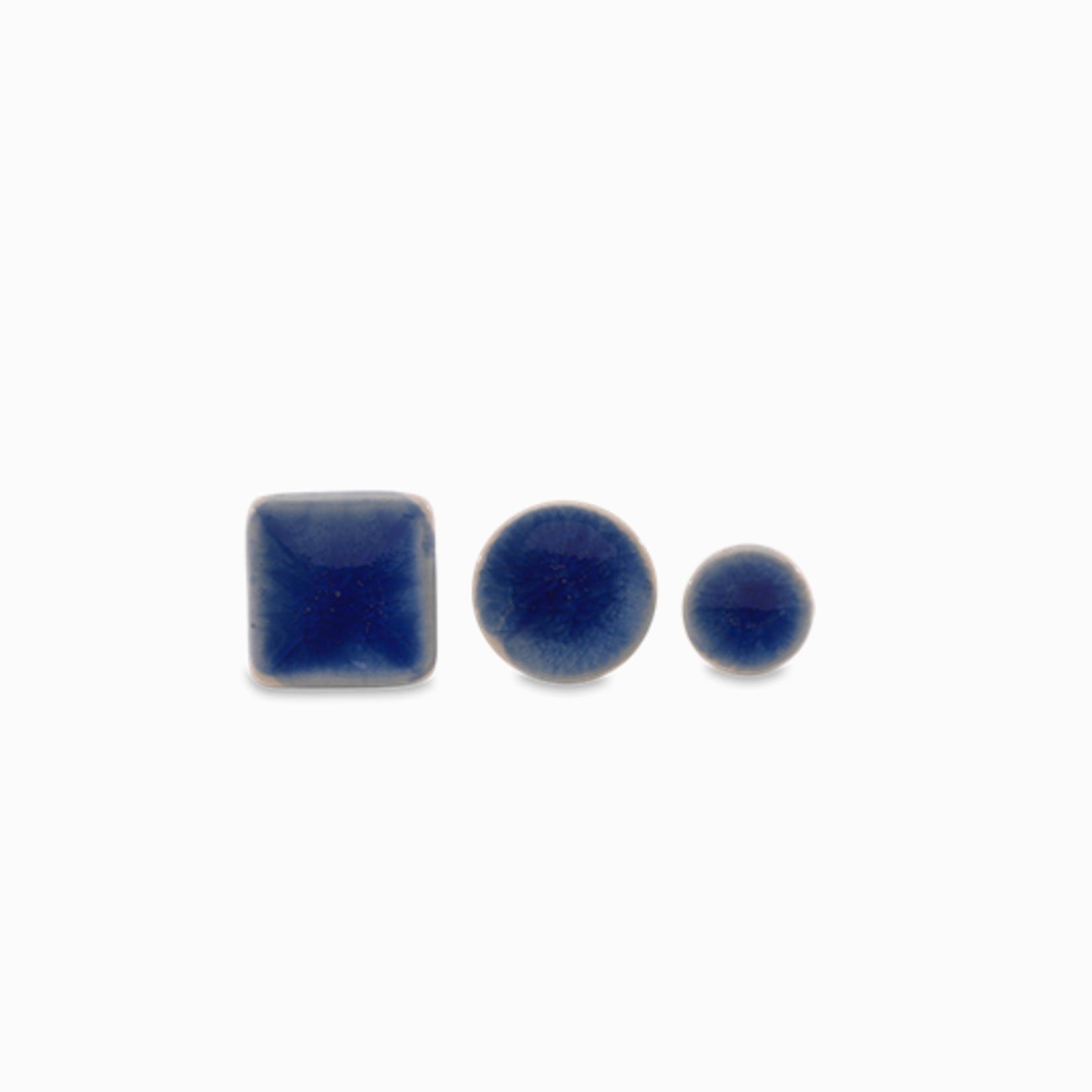 Nkuku Bira Blue Ceramic Knob - Small Round