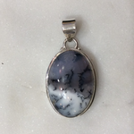 Maharaja Arts Palace Dendritic Agate Large Oval Pendant - Sterling Silver
