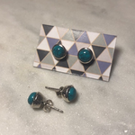 Maharaja Arts Palace Turquoise and Sterling Silver  Stud Earrings - Large 90mm