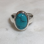Maharaja Arts Palace Turquoise and Sterling Silver Medium Ring - SIZE O & Q