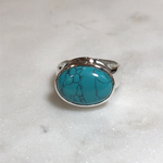 Maharaja Arts Palace Turquoise and Sterling Silver Large Ring - SIZE O