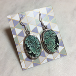 Maharaja Arts Palace Turquoise XXL sterling silver pendent earrings oval - C
