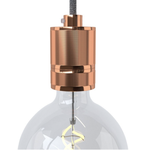 CCIT Copper Lampholder with shade ring Lamp holder kit E27 in milled aluminium, copper finish, provided with metal strain relief clamp
