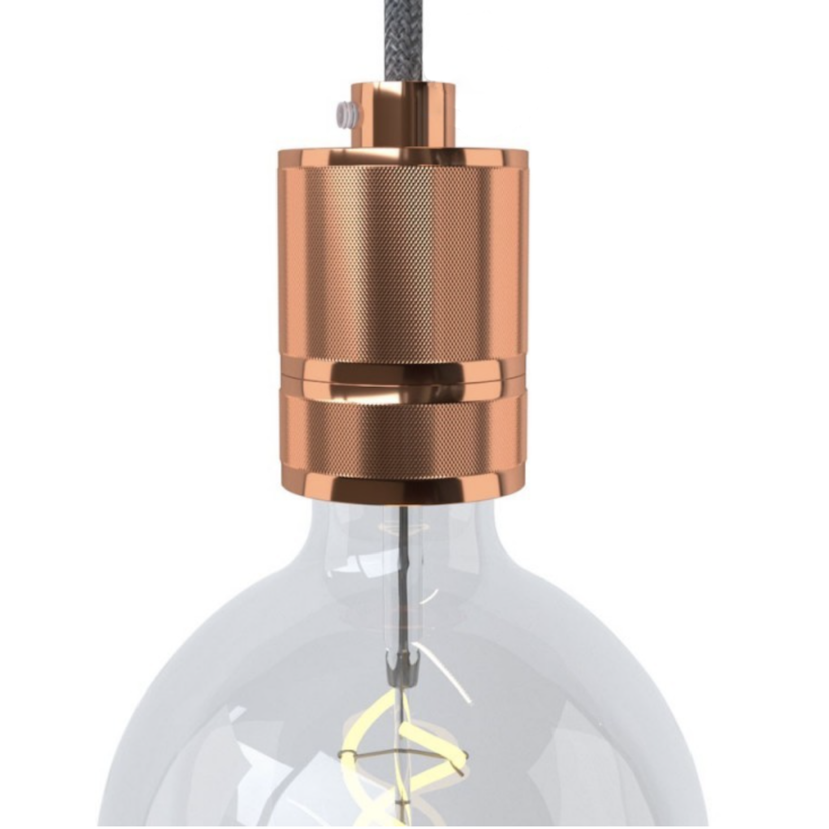 CCIT E27 Copper Lampholder with shade ring in milled aluminium, copper finish, provided with metal strain relief clamp