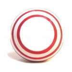 Pushka White Knob & Red Stripe Ceramic Cupboard Knob