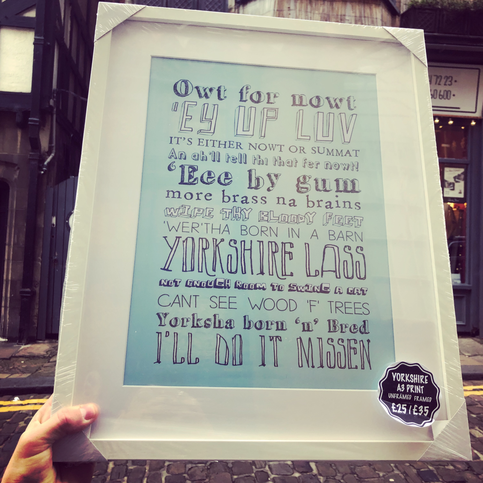 Homebird A3 Homebird Designed Yorkshire Lass slang PRINT-   Framed Locally or in a postal tube to post