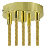 CCIT Brass 120mm 5 Hole Ceiling Rose Kit With Cylindrical Brass Plated Cable Grip.
