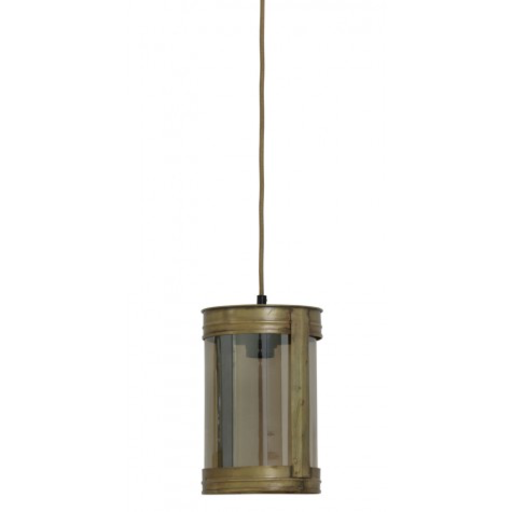 Light & Living DISCOUNTED Invy antique bronze & glass smoke hanging lamp 17x25cm all have minor blemishes to glass or brass finish