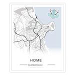Homebird Alex Anderson Scarborough Map Illustration Print - Black and White