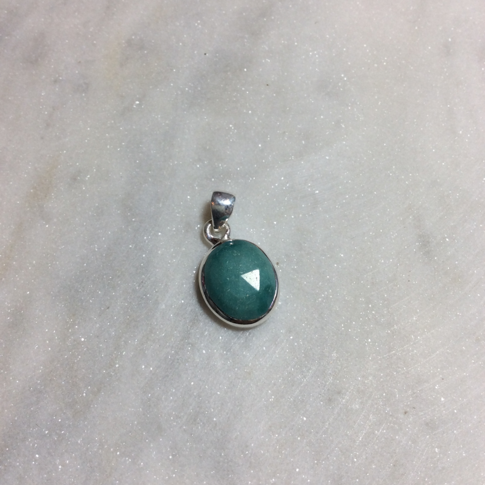 Silvex Images Extra Small Aqua Stone Oval Pendant