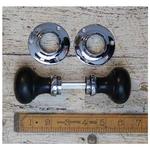 IRON RANGE Door Knob Set Bun Type Ebony / Chrome 50mm