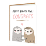 Brainbox Candy About Bloody Time! Sloths Same Sex Engagement Card