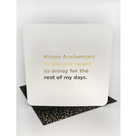 Brainbox Candy Anniversary Annoy (Gold Foiled) Birthday Card