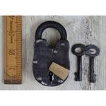 "IRON RANGE Padlock with 2 Keys Cast Antique Iron 2.5"" / 63mm LOCK"