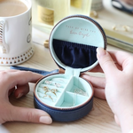 Lisa Angel Mini Round Travel Jewellery Case / box in Navy and Mint Green