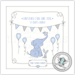 Homebird Bespoke Homebird Personalised Elephant Christening Illustration BLUE/PINK/MINT