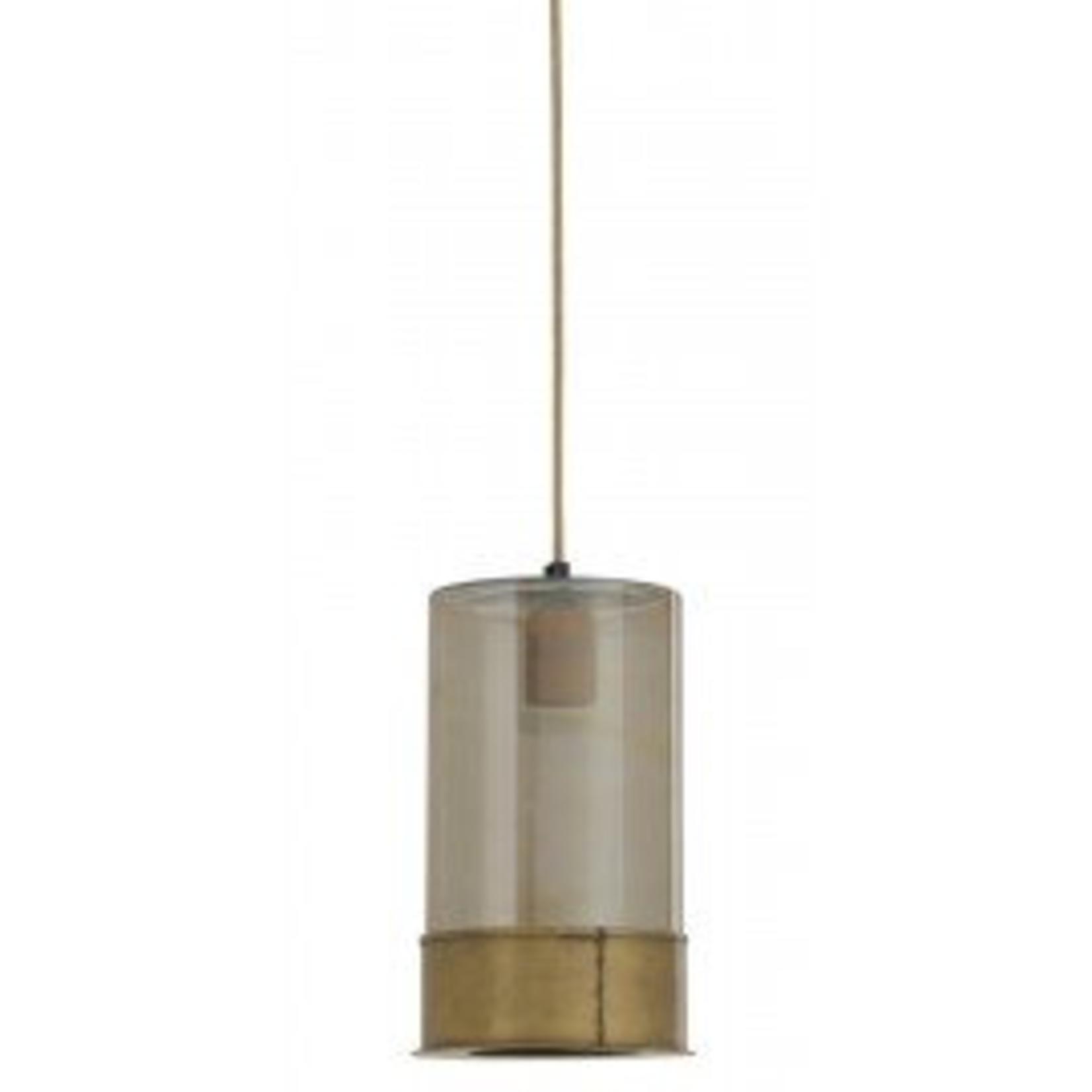 Light & Living DISCOUNTED Senne antique bronze & glass smoke hanging lamp 16x27cm