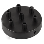 CCIT Black 120 mm 7 hole ceiling rose kit with cylindrical black metal cable retainer.