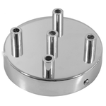 CCIT Chrome 120 mm 5 hole ceiling rose kit with cylindrical Chrome plated cable retainer.