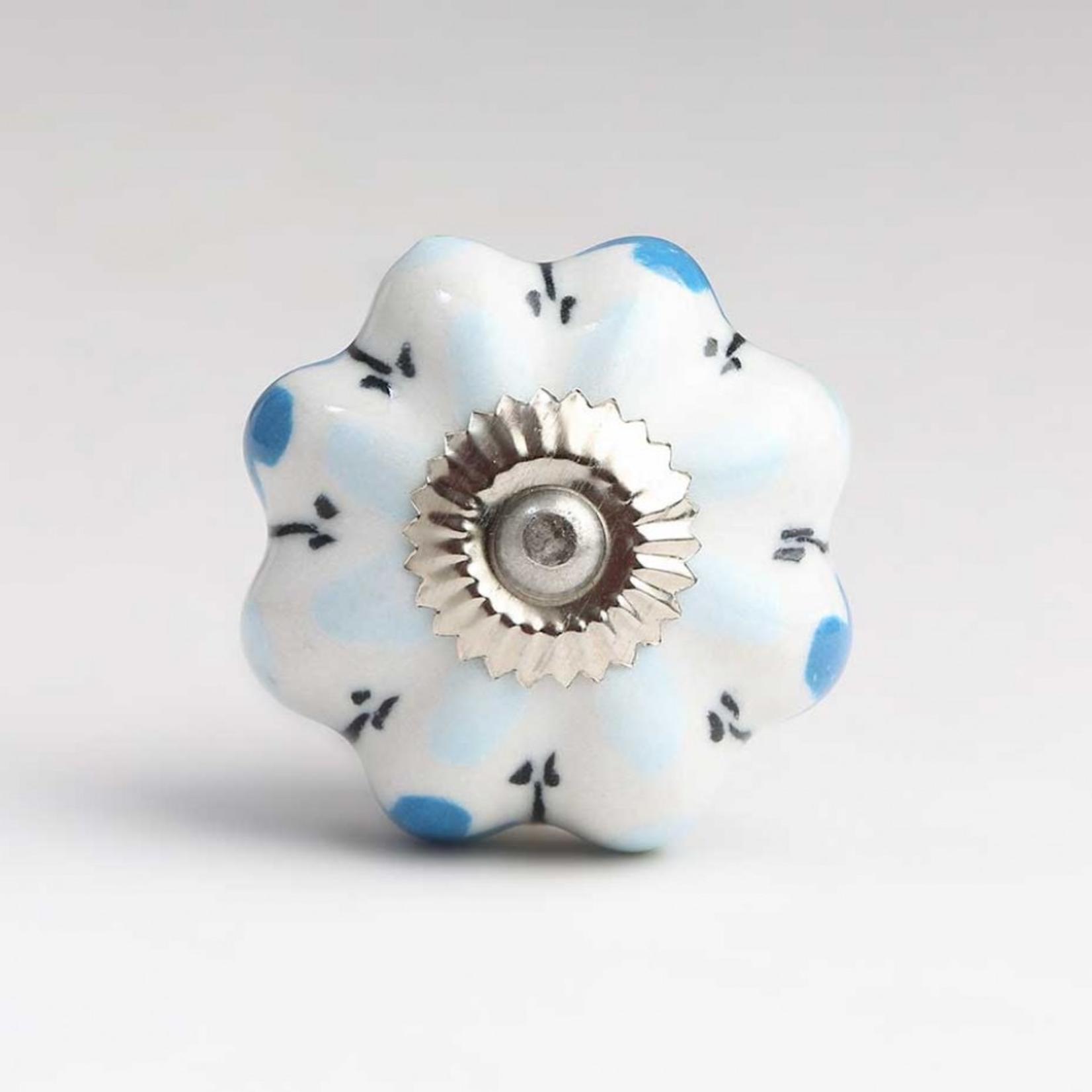BoDuck Flora handpainted ceramic door knob white/blue