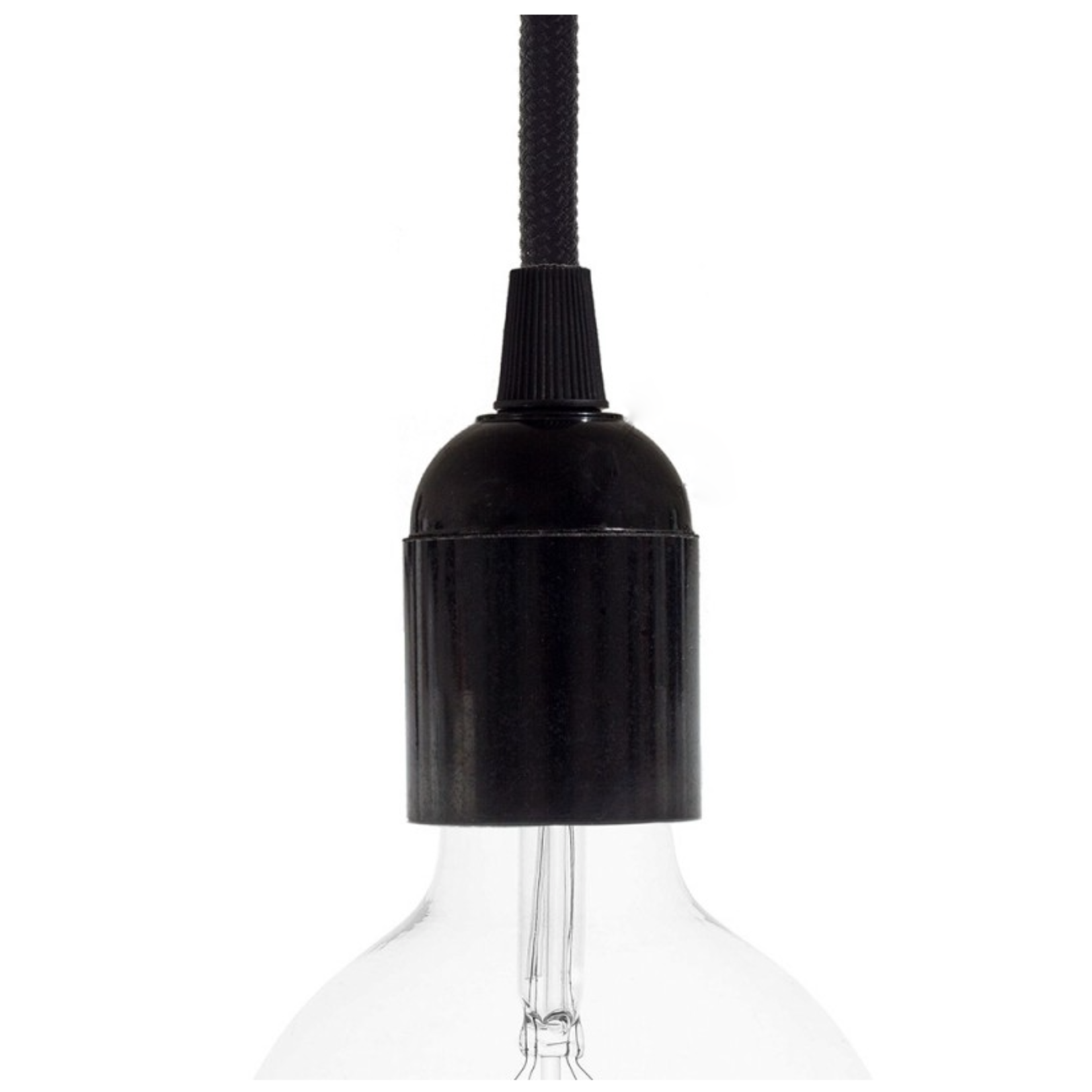 CCIT Black Bakelite E27 Lampholder shade holder ring with cable grip