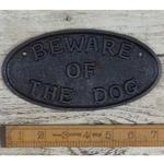 IRON RANGE Plaque 'Beware of the Dog' & Chain Antique Cast Iron 180mm