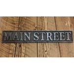 "IRON RANGE Plaque 'MAIN STREET' Cast Ant Iron 4"" x 16"""