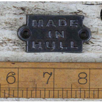 IRON RANGE Plaque 'Made In Hull' Antique Cast Iron