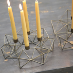Nkuku Small Derwala Geometric Candle Holder - Antique Brass