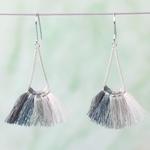 Lisa Angel Grey Tassel earrings in Silver