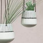 Nk Matamba Ceramic Hanging Planter - Black Matchsticks Plant Pot - Small 10 X 11cm (dia)