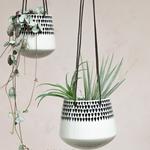 Nk Matamba Ceramic Hanging Planter - Black Droplets Plant Pot - Large 12 X 14cm (dia)