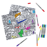 Eat Sleep Doodle The Doodle Zoo Tablecloth with Washable Pens