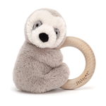 Jellycat Jellycat Shooshu Sloth Wooden Ring Toy Rattle RETIRED
