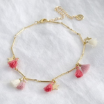 Lisa Angel Pink Tassel and Star Anklet in Gold