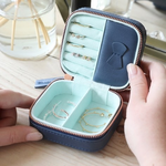 Lisa Angel Mini Square Travel Jewellery Box in Navy and Mint Green