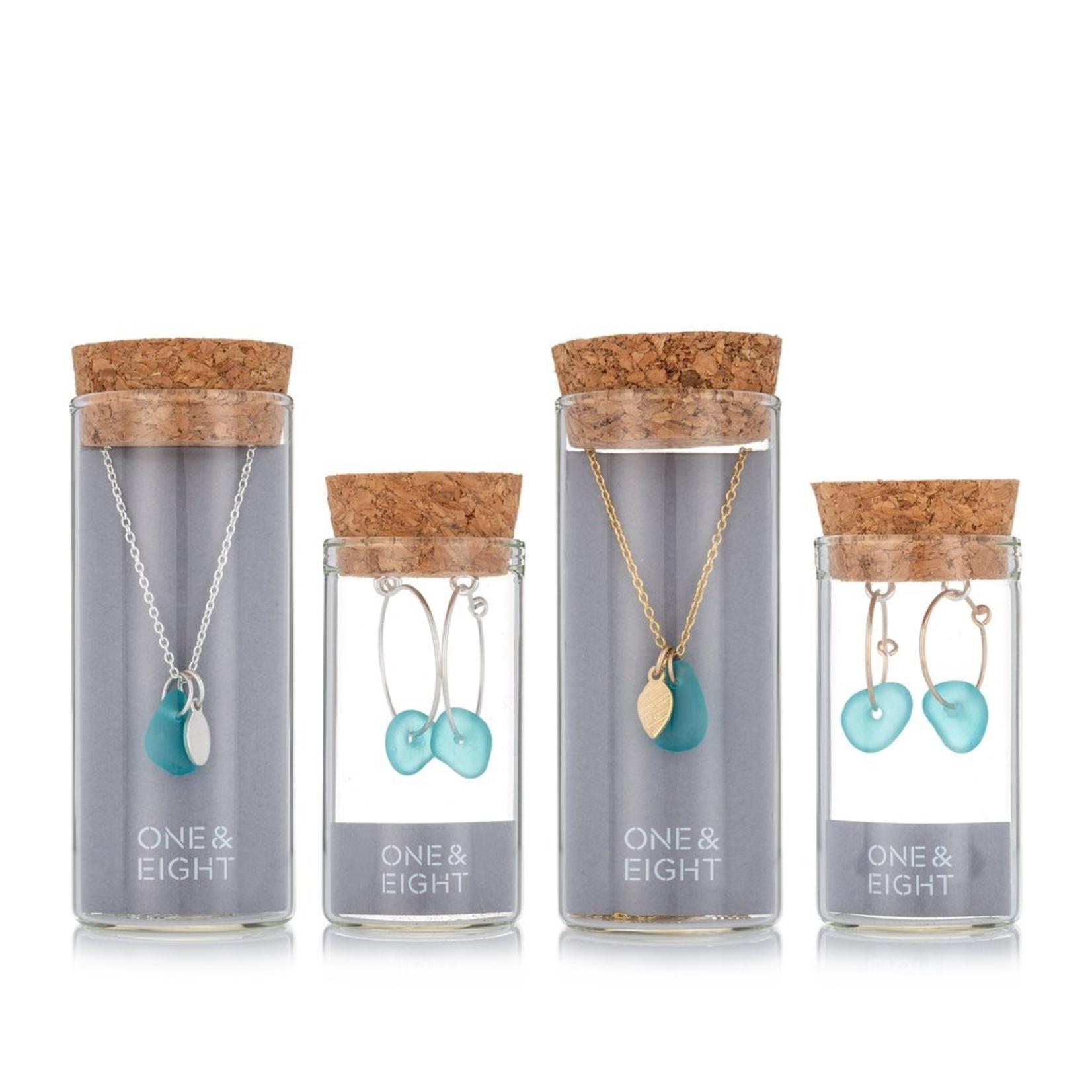 One & Eight Aqua Seaglass Gold Hoop Earrings