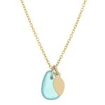 One & Eight Aqua Seaglass Gold Necklace
