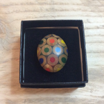 Zinc White ZW Pebble ring in Multicolours Silver Plated